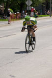 Cyclist Races Down Hill at Stillwater Royalty Free Stock Photos