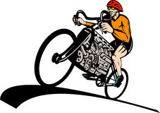Cyclist racing bicycle car engine Stock Photo
