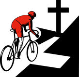 Cyclist racing bicycle cross road Stock Images