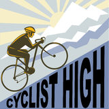 Cyclist racing bike mountain Stock Photography