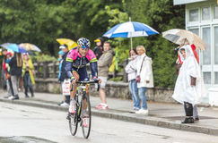 The Cyclist Rafael Valls. Gerardmer, France - 12.07.2014: The Spanish cyclist Rafael Valls (Team Lampre-Merida) riding during the stage 8 of Le Tour de France Royalty Free Stock Photography