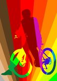 Cyclist in rainbow Stock Image