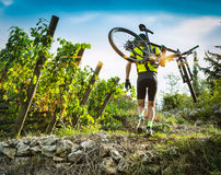 Cyclist raises the mountain bikes on their shoulders. Royalty Free Stock Image