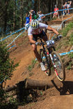 Cyclist Ramp X Country Racing Royalty Free Stock Photography