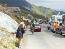 The Cyclist Ramunas Navardauskas -Tour de France 2015. Col de la Croix de Fer, France - 25 July 2015:The Lituanian cyclist Ramunas Navardauskas of Cannondale Royalty Free Stock Images