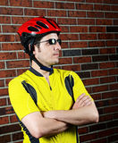 Cyclist Ready. Image of a cyclist Royalty Free Stock Photos