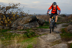Cyclist in Red Jacket Riding the Bike on Rocky Trail. Extreme Sport. Stock Photos