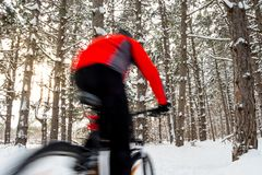 Cyclist in Red Riding Mountain Bike in Beautiful Winter Forest. Photo with Motion Blur. Cyclist in Red Riding the Mountain Bike in the Beautiful Winter Forest Stock Photos