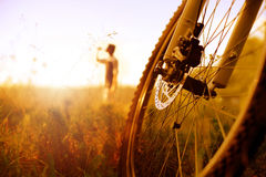 Cyclist relaxing Royalty Free Stock Image
