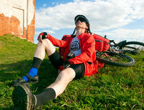 Cyclist on rest break Royalty Free Stock Photography