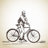 Cyclist on retro bicycle Stock Photo
