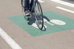 Cyclist ride the bike path Royalty Free Stock Images