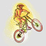 Cyclist ride mountain bike on the background graphics, vector image vector illustration