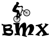 Cyclist rider bmx performs trick jump, logo silhouette vector. Stock Photography