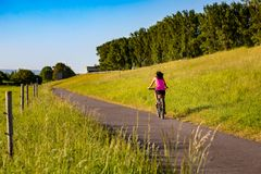 A cyclist rides along the in the sunlight stock images
