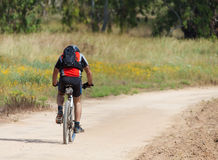Cyclist rides on the road Stock Photography