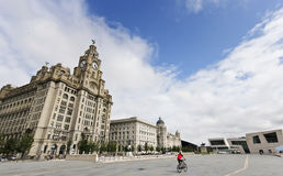 A Cyclist Rides by the Royal Liver Building Royalty Free Stock Photography