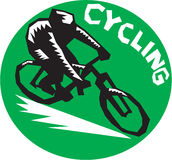 Cyclist Riding Bicycle Cycling Circle Woodcut Royalty Free Stock Photography