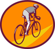Cyclist Riding Bicycle Cycling Oval Woodcut Stock Images