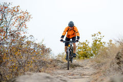 Cyclist Riding Bike on the Beautiful Autumn Mountain Trail Stock Image