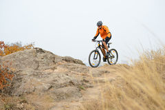 Cyclist Riding Bike on the Beautiful Autumn Mountain Trail Royalty Free Stock Images