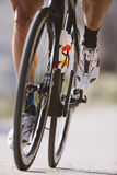Cyclist riding a bike in a cycling race. Royalty Free Stock Photo