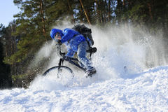 Cyclist riding bike stock image