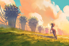 Cyclist riding a bike in a field with fantasy tree and colorful sky. Illustration painting Royalty Free Stock Image