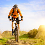 Cyclist Riding the Bike on Morning Mountain Trail Stock Photography