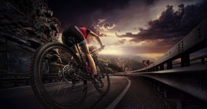 Cyclist riding a bike Royalty Free Stock Photo