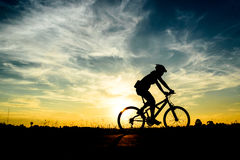 Cyclist riding Bike Stock Photography