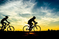 Cyclist riding Bike Royalty Free Stock Photos
