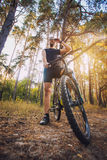 Cyclist Riding the Bike on a Trail in Summer Forest Stock Images