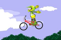 Cyclist riding jumping with bicycle cross-country Royalty Free Stock Photography