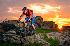 Cyclist Riding Mountain Bike Down Spring Rocky Hill at Beautiful Sunset. Extreme Sports and Adventure Concept. Royalty Free Stock Images