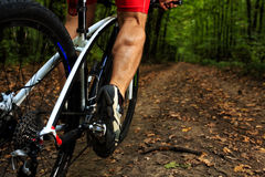 Cyclist riding mountain bike on rocky trail Stock Image