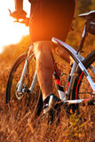 Cyclist riding mountain bike on rocky trail Royalty Free Stock Photography