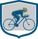 Cyclist Riding Mountain Bike Shield Retro Royalty Free Stock Image