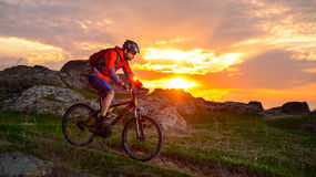 Cyclist Riding Mountain Bike on the Spring Rocky Trail at Beautiful Sunset. Extreme Sports and Adventure Concept. Stock Photography