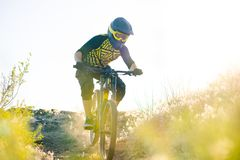 Cyclist Riding the Mountain Bike on the Summer Rocky Trail at the Evening. Extreme Sport and Enduro Cycling Concept. Royalty Free Stock Photos