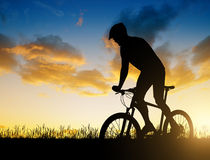 Cyclist riding a mountain bike Royalty Free Stock Photography