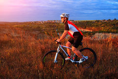 Cyclist riding mountain bike on trail at evening. Stock Photos