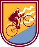 Cyclist Riding Mountain Bike Uphill Retro Stock Photo