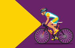 Cyclist riding at night with a flashlight on. Vector illustration stock illustration