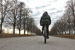 Cyclist riding on a paved road