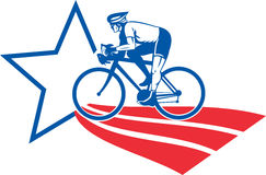 Cyclist riding racing bike star and stripes Stock Photography