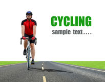 Cyclist. Riding on a road bike Royalty Free Stock Photography