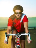 Cyclist on road bike Royalty Free Stock Photography