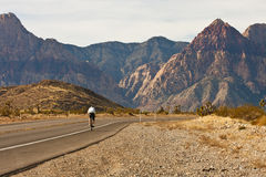 Cyclist on Road Through Desert Into Mountains Stock Images