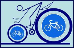 Cyclist and road sign. royalty free illustration